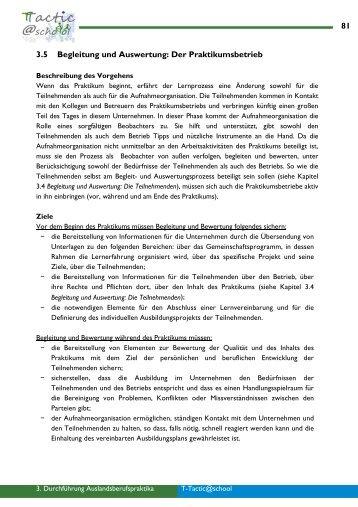 3.5 Überwachungs- und Bewertungsprozess - Der Praktikumsbetrieb