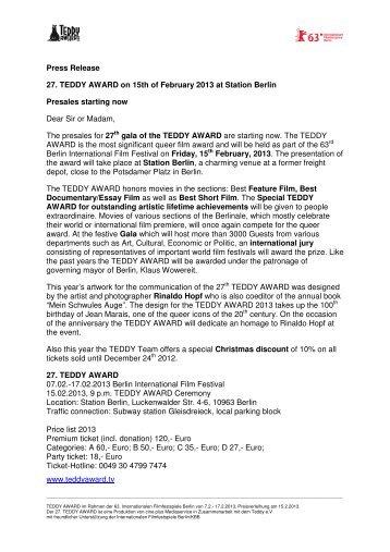 TEDDY AWARD Press release Dez. 10, 2012