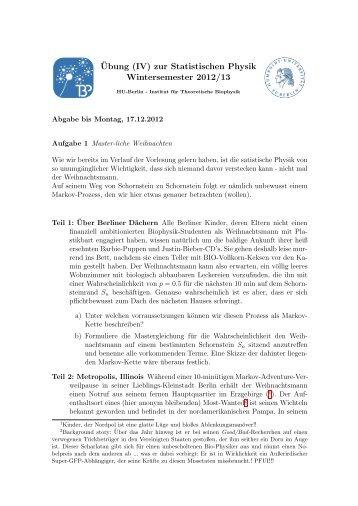 ¨Ubung (IV) zur Statistischen Physik Wintersemester 2012/13