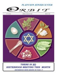 Orbit April 2012 - Plainview Jewish Center