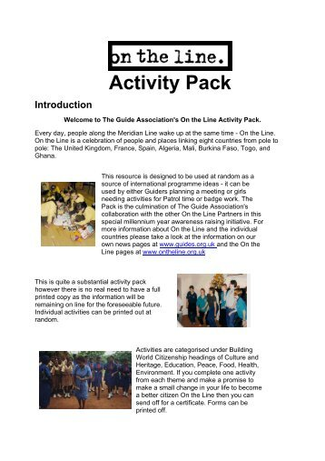 On the Line Activity Pack - Girlguiding North West England