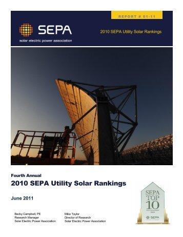 2010 SEPA Utility Solar Rankings - Solar Electric Power Association