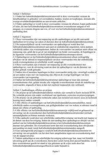 Artikel 1 Definities 1.1 Onder het Gebruiktehulpmiddelencentrum ...