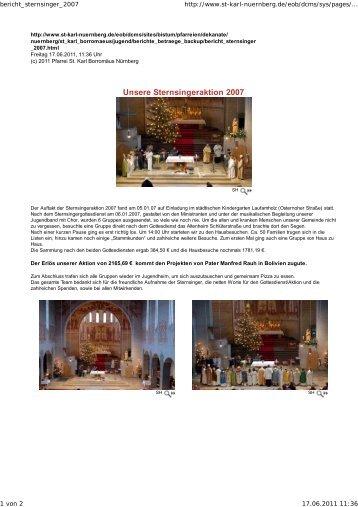 Unsere Sternsingeraktion 2007 - Seelsorgebereich St. Karl