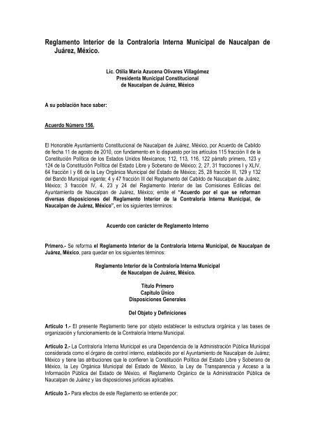Reglamento Interior De La Direcciã N General De Contralorãa