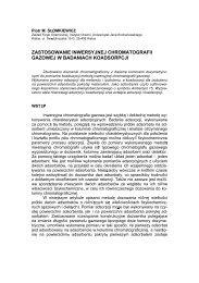 zastosowanie inwersyjnej chromatografii gazowej w badaniach ...