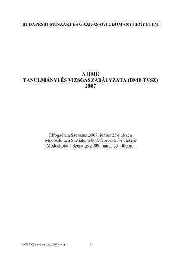 (bme tvsz) 2007 - BME Központi Tanulmányi Hivatal - Budapesti ...