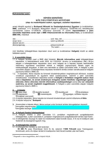 Mérnök informatikus szak képzési szerződés - BME Központi ...