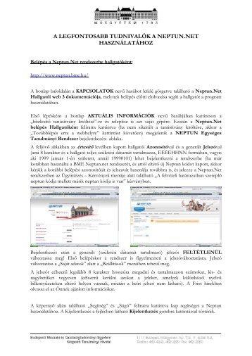 Beiratkozás és Neptun kezelés - BME Központi Tanulmányi Hivatal
