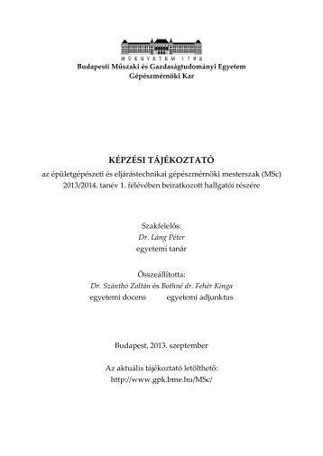 Képzési tájékoztató - BME Központi Tanulmányi Hivatal - Budapesti ...