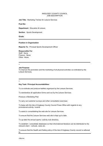 Job Description Post: Marketing Officer Responsible To   Orwell