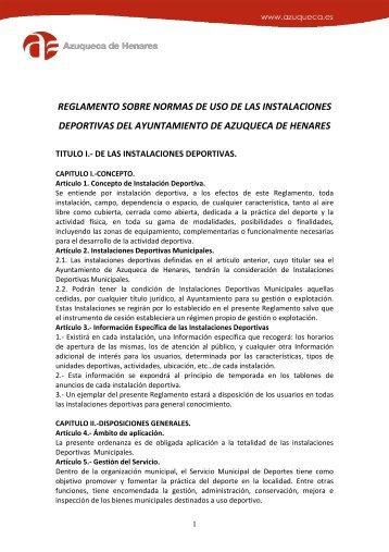 Reglamento de uso de las instalaciones - Ayuntamiento de ...