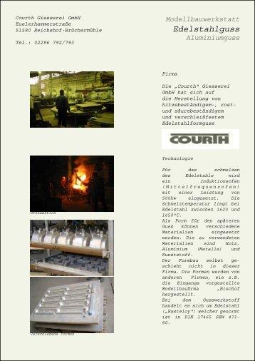 Modellbauwerkstatt Edelstahlguss Aluminiumguss