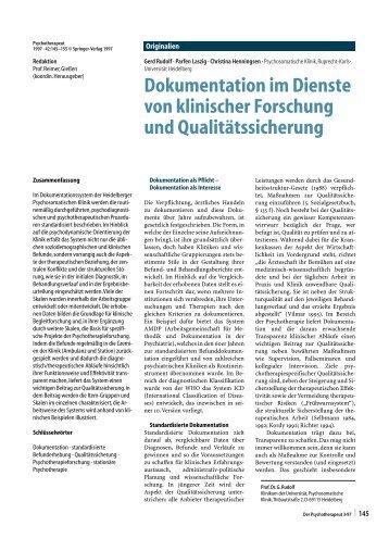 Dokumentation im Dienste von klinischer Forschung und ...
