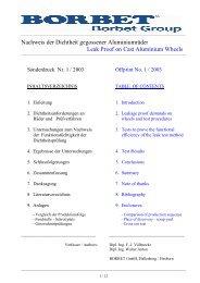Nachweis der Dichtheit gegossener Aluminiumräder Leak ... - Borbet