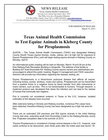 TAHC to Test Equine Animals in Kleberg County for Piroplasmosis