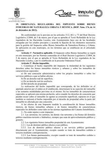 Ordenanza fiscal reguladora del impuesto sobre bienes inmuebles ...