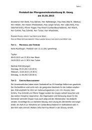 Protokoll der Pfarrgemeinderatssitzung St