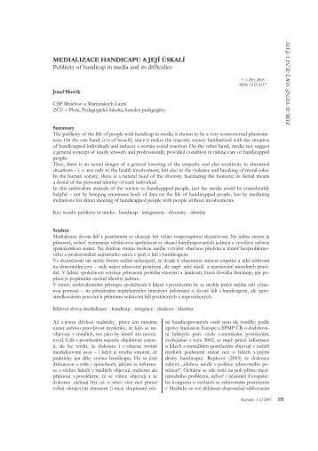 MEDIALIZACE HANDICAPU A JEJÍ ÚSKALÍ Publicity of handicap in ...