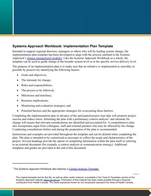 Systems Approach Workbook: Implementation Plan Template - EENet