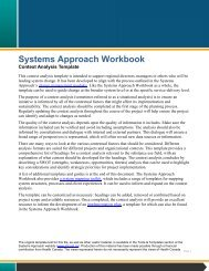 Systems Approach Workbook: Context Analysis Template - EENet