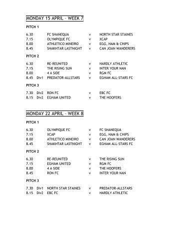 MONDAY 15 APRIL – WEEK 7 MONDAY 22 ... - Champion Soccer