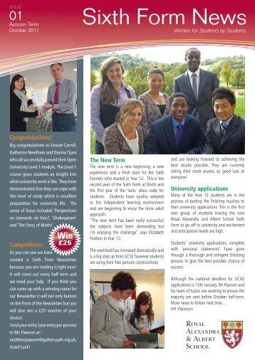 Sixth Form News - Royal Alexandra and Albert School