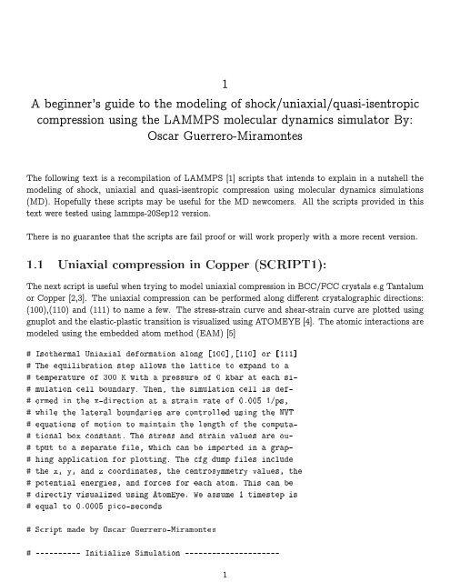 1 1 Uniaxial compression in Copper (SCRIPT1): - Lammps