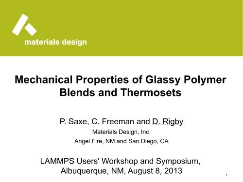 Mechanical Properties of Glassy Polymer Blends and     - Lammps