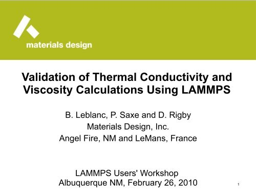 Validation of Thermal Conductivity and Viscosity     - Lammps
