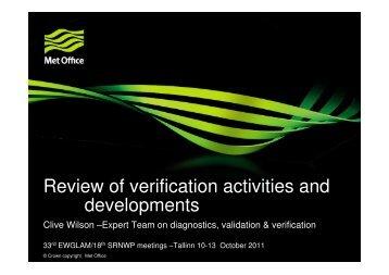 Clive Wilson: Review talk on SRNWP-verification programme