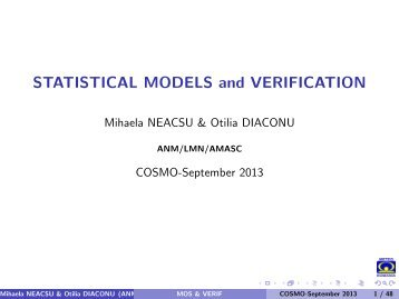 STATISTICAL MODELS and VERIFICATION - Cosmo