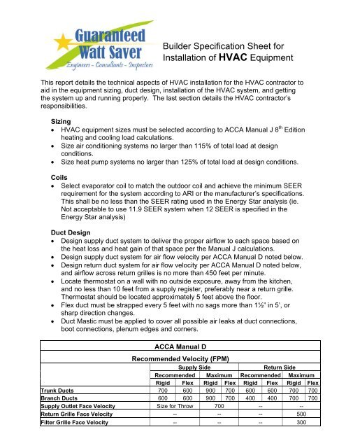 Builder Specification Sheet for Installation of HVAC Equipment