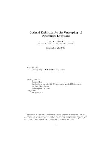 Optimal Estimates for the Uncoupling of Differential Equations