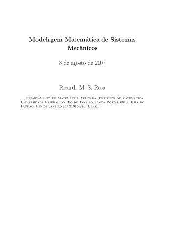Modelagem Matemática de Sistemas Mecânicos 8 de agosto de ...