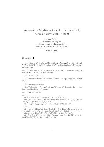 Answers for Stochastic Calculus for Finance I; Steven Shreve ... - UFRJ