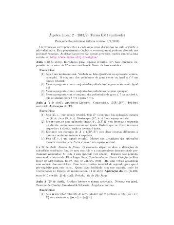 Cronograma e listas de exercícios - Laboratório de Matemática ...