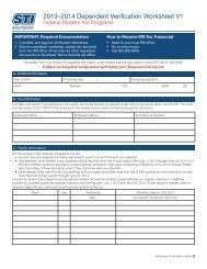2013–2014 Dependent Verification Worksheet V1 - Southeast ...