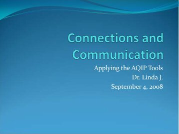 Applying the AQIP Tools Dr. Linda J. September 4, 2008 - STInet