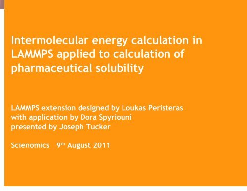 Calculate pharmaceutical solubility using classical     - Lammps