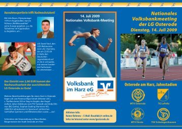 Nationales Volksbankmeeting der LG Osterode
