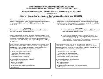 Liste provisoire chronologique des Conférences et ... - Unesco