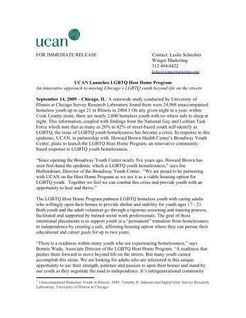 FOR IMMEDIATE RELEASE Contact: Leslie Schreiber ... - UCAN