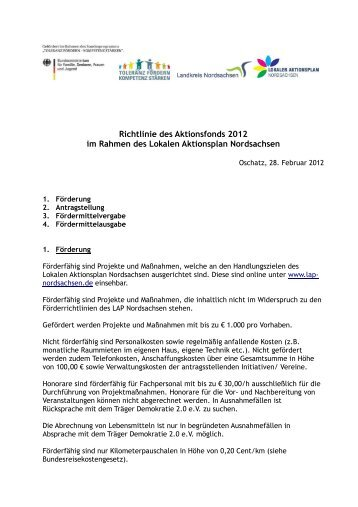 Aktionsfonds 2012 - Lokaler Aktionsplan Nordsachsen