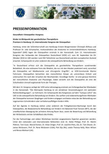presseinformation - Verband  der Osteopathen Deutschland e.V.