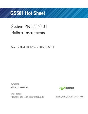 GS501 Hot Sheet - Balboa Direct
