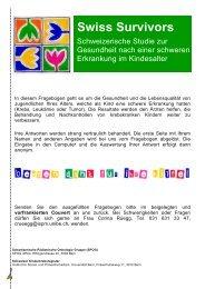 Fragebogen Jugendliche - Schweizer Kinderkrebsregister