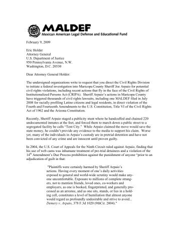 Sample letter maldef letter to attorney general holder requesting investigation maldef spiritdancerdesigns Gallery
