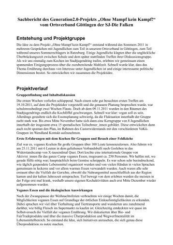 """Sachbericht des Generation2.0-Projekts """"Ohne Mampf kein Kampf ..."""