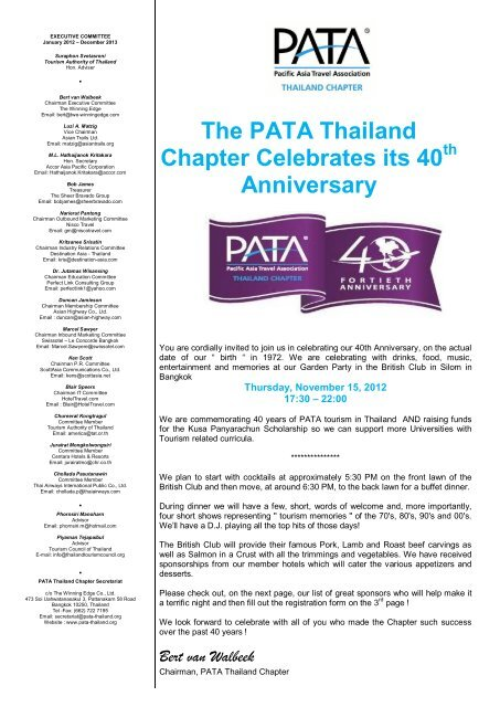 PATA Thailand Chapter 40th anniversary - Global Travel Media